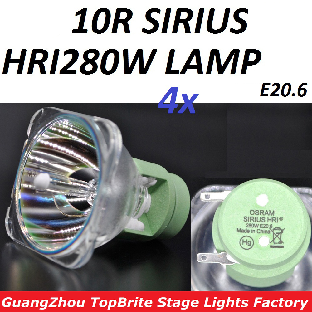 4xLot Sales 10R 280W Lamp High Quality Lampwick MSD280W Bulb MSD Platinum P-VIP 280 W Halogen HRI280W Metal Halide Lamps philips msd 250 2 20h 250w broadway metal halide lamps gy9 5 discharge stage bulb