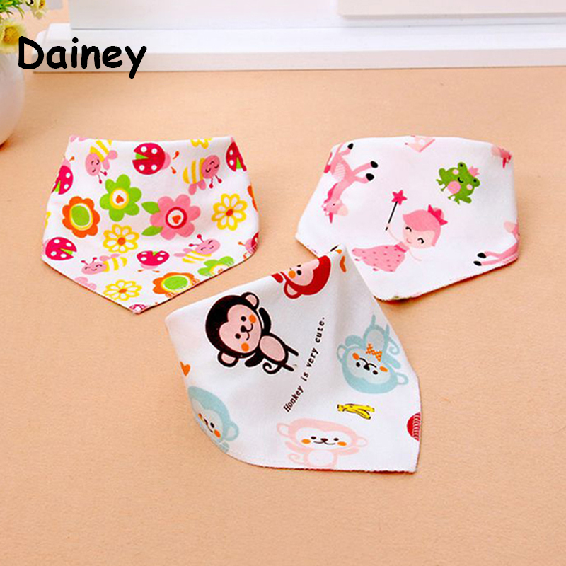 2017 Newborn Baby Cartoon Bibs Triangl Double Layers Cartoon Animal Soft Print Bandana Dribble Infant Bib High Quality