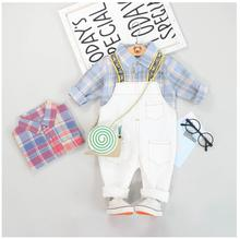 2019 Autumn Toddler Infant Clothes Suits Baby Girls Boys Clothing Sets Plaid Shirt Bib Pants Kids Children Costume Suit цена в Москве и Питере