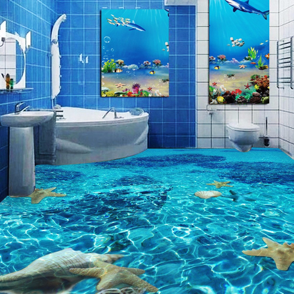Custom 3d Floor Mural Wallpaper Seawater Starfish Toilets