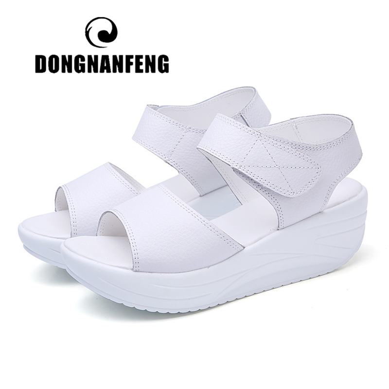 DONGNANFENG Women's Mother Ladies Female Genuine Leather Shoes Sandals Woman Platform Hook Loop Casual Summer Cool Beach AM-9018