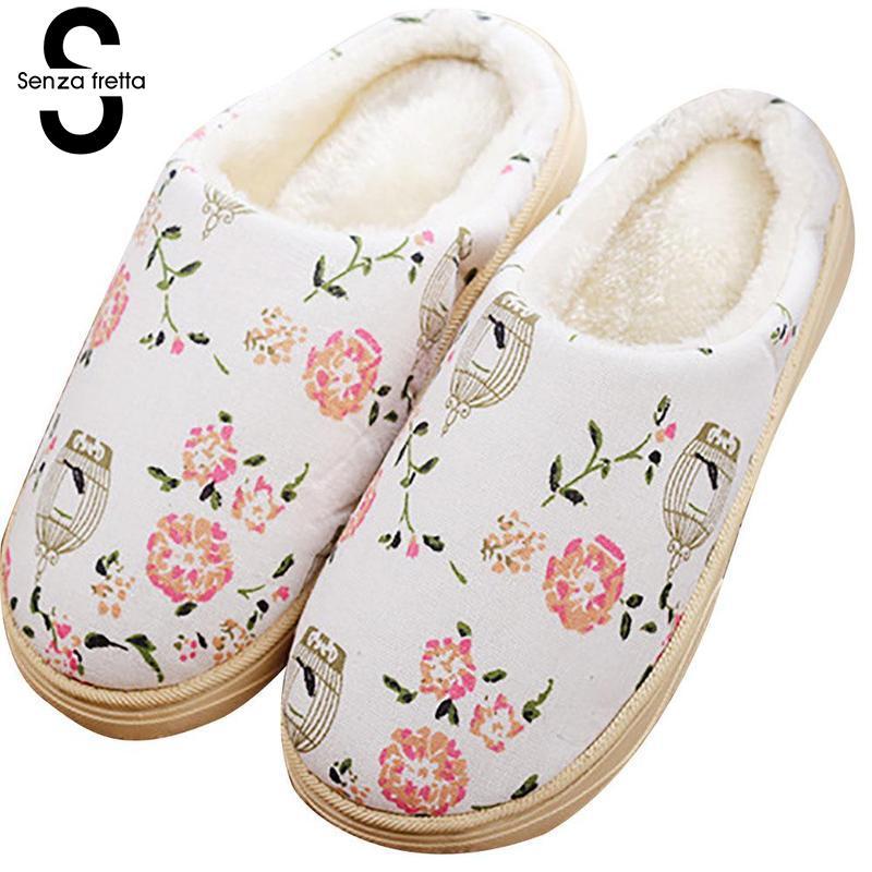 Senza Fretta Winter Warm Women Slippers Christmas Thick Bottom Non-slip Plush Slippers Indoor Soft Bottom Warm Slippers Women soft plush big feet pattern winter slippers