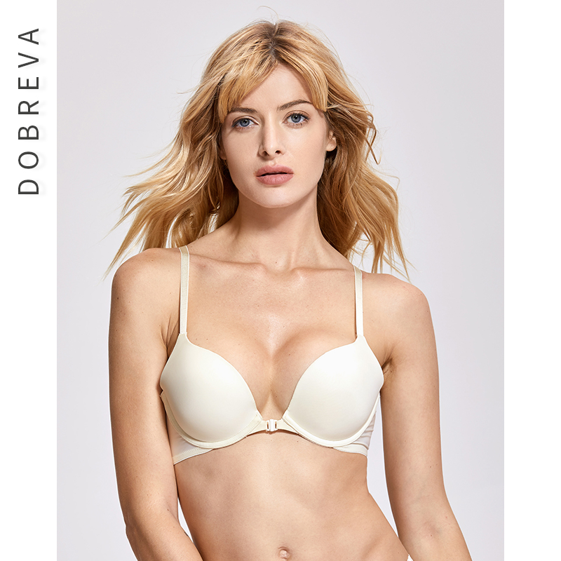 a94dd49491414 DOBREVA Women Seamless Bra Front Closure Sexy Lace Back Smooth Push Up  Female Underwear Lingerie