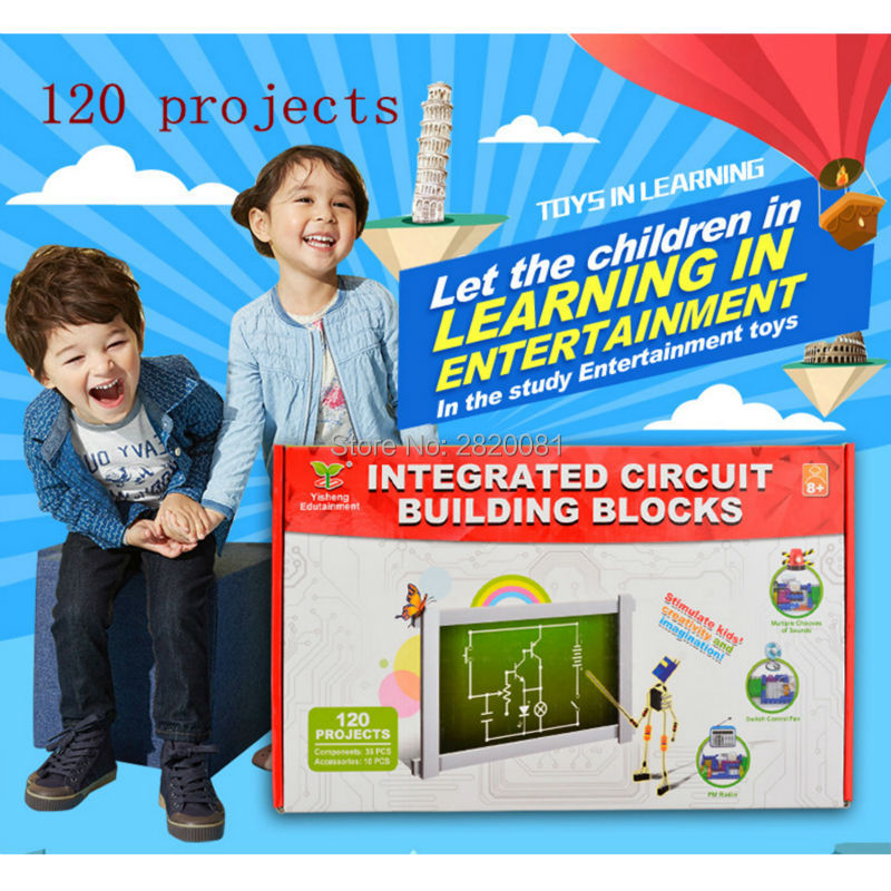 лучшая цена 120 projects electronic integrated circuit building blocks,science&smart learning kits, Radio+light DIY experiments novelty toy