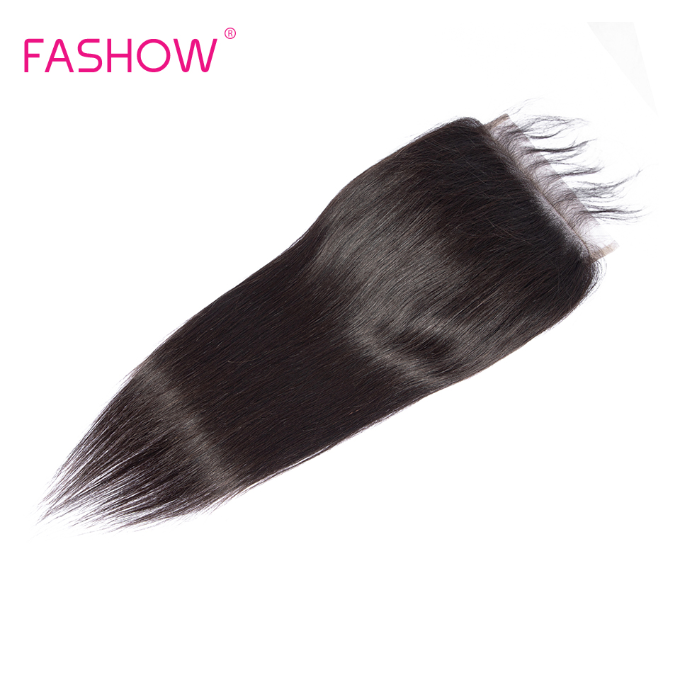 Fashow 5*5 Lace Closure Brazilian Straight Hair Hand Tied 5x5 Closure Free Middle Three Part 8