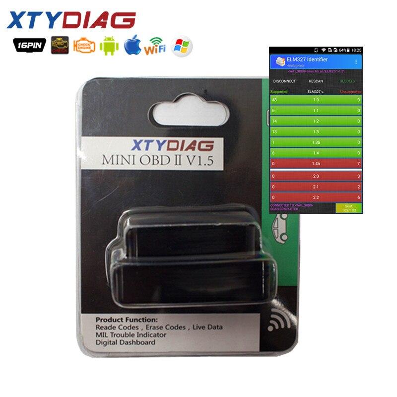 XTYDiag OBD2 WIFI ELM327 V1.5 Scanner Auto OBDII Scan Tool OBD 2 ODB II ELM 327 V1.5 WI-FI Code Reader For IOS Andriod