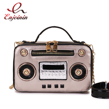 box design chinese tower print pu leather ladies bucket bag chain shoulder bag crossbody mini messenger bag for women handbag Fashion Unique Vintage Radio Box Style Pu Leather Ladies Handbag Shoulder Bag Chain Purse Crossbody Messenger Bag For Women Flap