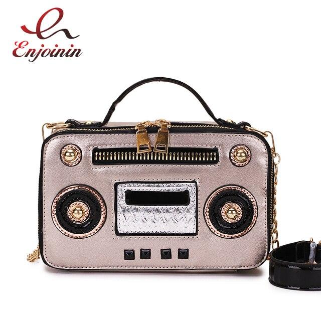 c59f8be9ab2f0 Moda Unique Vintage Radio Box Style Pu Leather Panie Torebka Torba Na Ramię  Łańcucha Torebka Crossbody