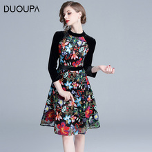 Duoupa 2019 New spring Womans Embroidery Dress Velvet Sleeve Patched Elegant OL Party Autumn Dresses Women Floral Embroide