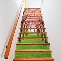 13 Teile/satz Kreative 3D DIY Stairway Aufkleber Kirschbaum Schönheit Straße Stairway Wall Aufkleber Schritte Dekoration Boden Tapete