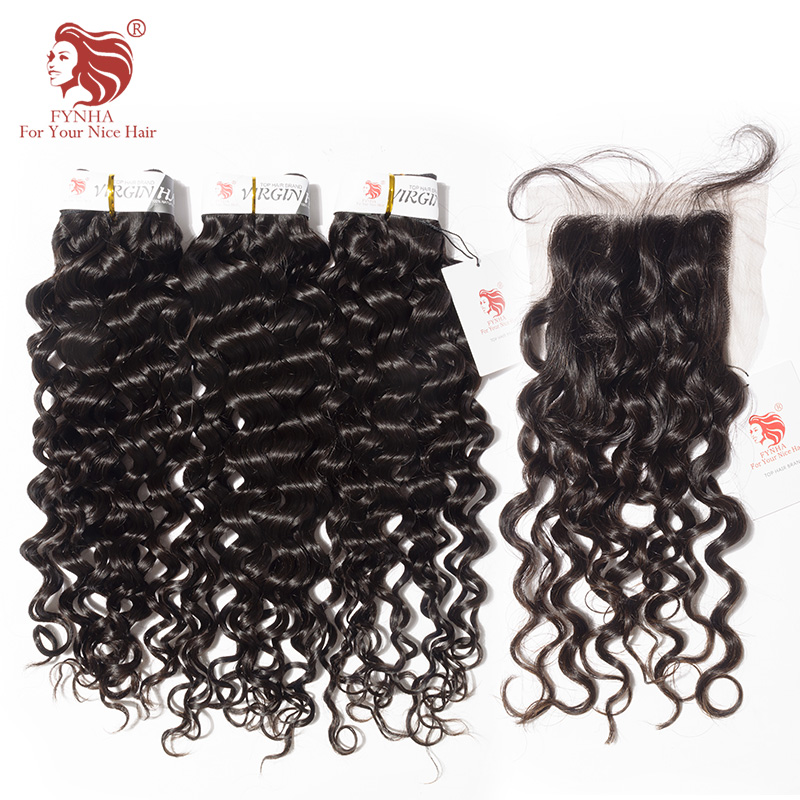 [FYNHA] Indian Virgin Hair Bouncy Curly Hair Weave 3 Bundles With Lace Closure Human Hair Extensions