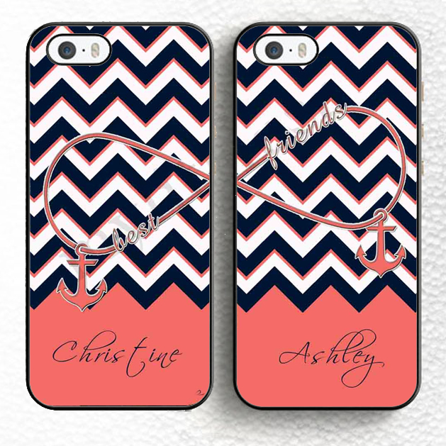 2pcs/lot Best Friends Forever Chevron Infinity Anchor Pink Personalized Soft Phone Case For iPhone 6 6S Plus 5 5S 5C 4S SE Cover