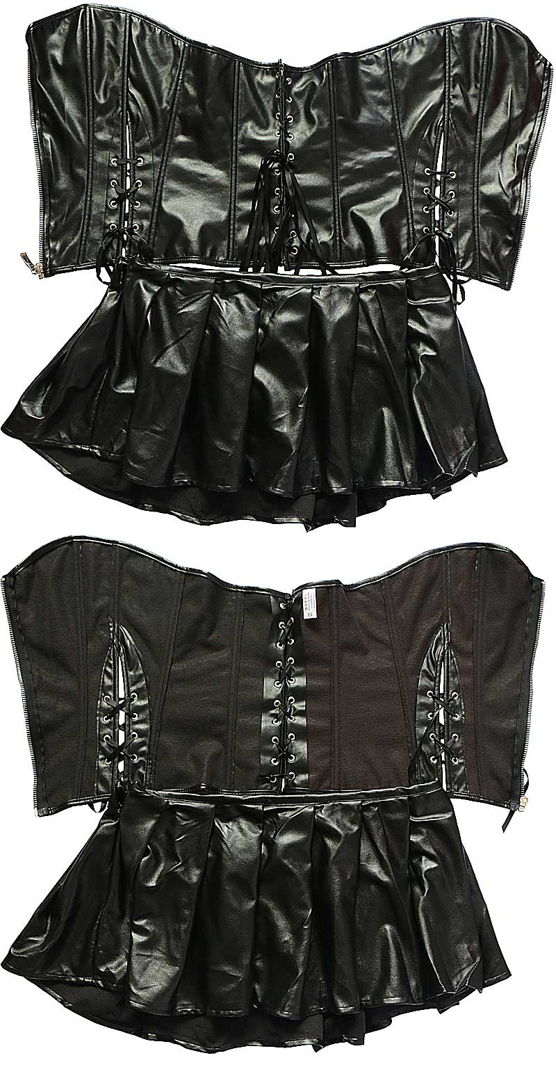 wholesale price fashion design sexy bustier front zipper leather corselect dress corset with min skirt plus size s-6xl Dresses 9