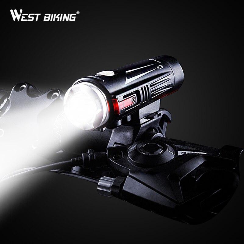 WEST BIKING USB Charging Bike Front Light Full-waterproof Double Spot MTB Road Bike Handlebar Torch Lamp Safety Bicycle Lights