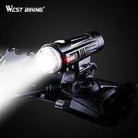 WEST BIKING USB Charging Bike Front Light Full waterproof Double Spot MTB Road Bike Handlebar Torch Lamp Safety Bicycle Lights