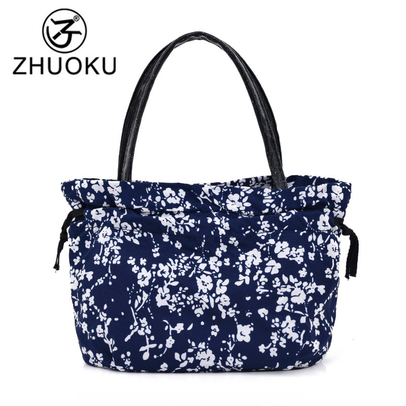 ZHUOKU 2017 New Nylon Bag Women Handbag Ice Bag Kids Lunch Bag Flower Print Clutch Fresh Casual Mini Mummy Bags Sac A Main WH541 3d unicorn dessert coffee office pouch thermal insulated neoprene lunch bag women kids lunchbags cooler insulation lunch box