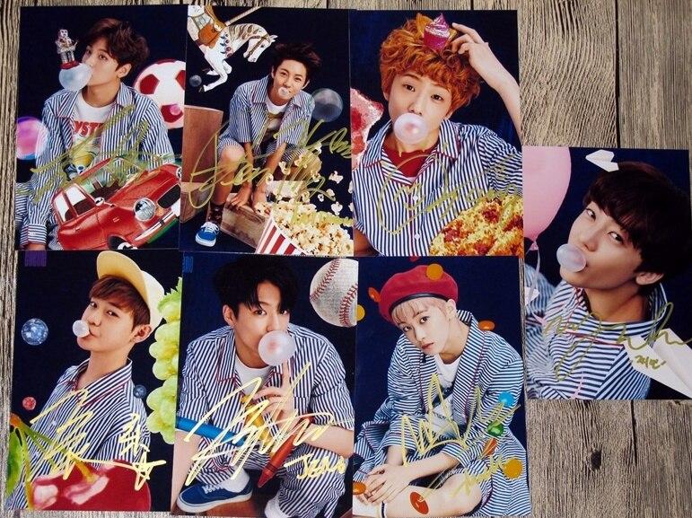 NCT Rêve autographiée signé groupe photo 7 photos ensemble Gomme À Mâcher 6 pouces collection livraison gratuite 10.2016