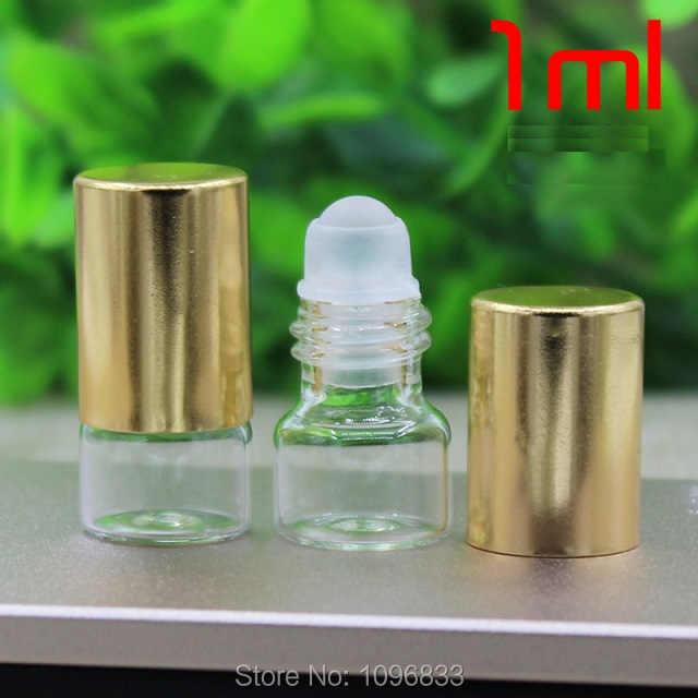 1 ML Glas Roll op Fles, parfumflesjes Glas Kraal roller, glas Roll op Flesjes, essentiële Olie Flacon, lege Flesjes, 100 stks/partij