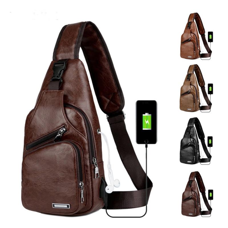 Carregamento USB Crossbody Sacos de Peito De Couro Dos Homens Saco de Escola de Verão Curta Viagem Saco Mensageiros