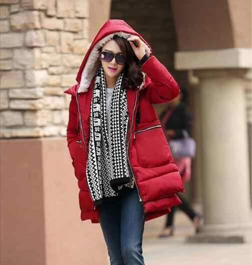 คลอดบุตรฤดูหนาว Coat PLUS ขนาด S-5XL ซิปกระเป๋าขนาดใหญ่ตั้งครรภ์ผู้หญิงกองทัพสีเขียว Outwear แจ็คเก็ต Hooded Thicken Coats