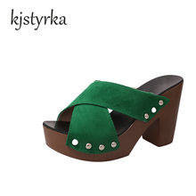 Kjstyrka 2018 Female Slippers Suede Sandals Summer Shoes halved belt  Platform Women Mules Ladies Ultra High Heeled Slides Shoes 2e7ae465c628