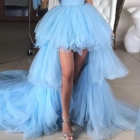 Sky Blue High Low Tutu Tulle Women's Skirts High Low High Waist Zipper Wedding Skirts With Long Train Custom Made Formal Skirts