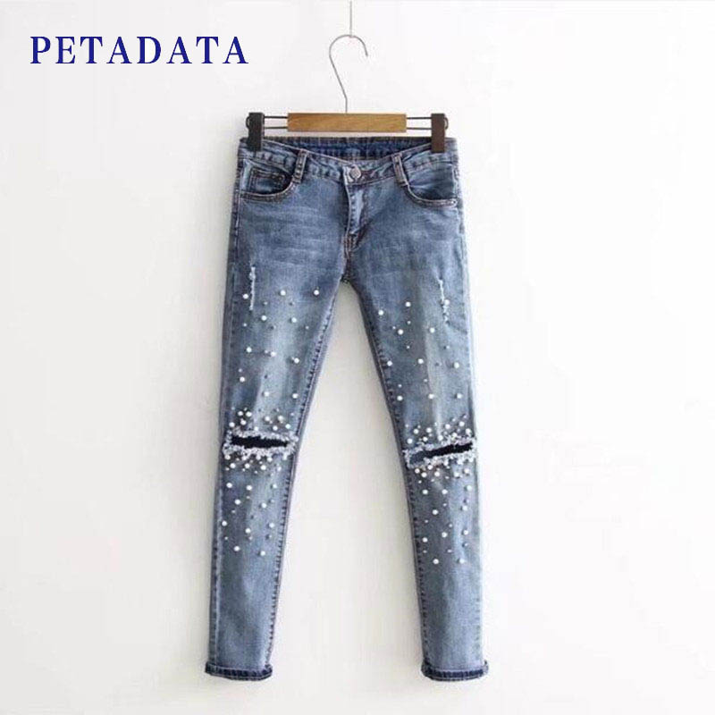 Women Fashion Skinny Jeans Femme Embroidered Flares Hole Denim Pencil Pants Mid Waist Blue Trousers Feminino Long Scratched Jean skinny slim mid waist ripped jeans slim pants for women scratched jean femme pencil trousers taille haute 2016