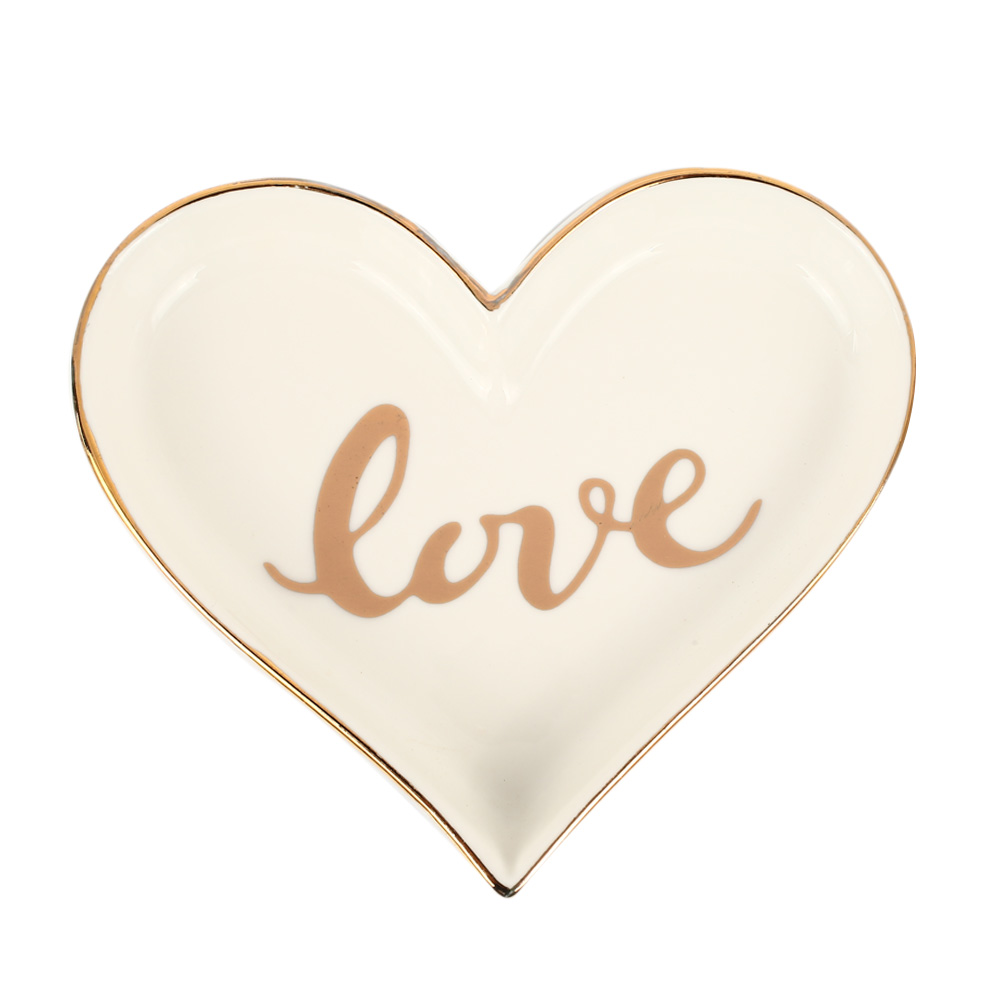 Креативный в форме сердца керамический поднос для обеденной тарелки подарок на День святого Валентина для сладкой посуды Ювелирная тарелка десертные ресторанные Держатели - Цвет: white love