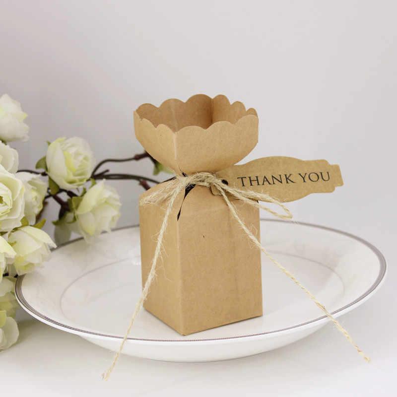 Saco de caixa de doces de chocolate pacote de presente de papel para o Aniversário de Casamento favor de partido Decoração suprimentos DIY de papel marrom kraft obrigado Wh