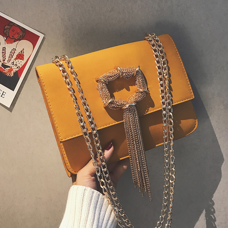 Women's Designer Handbag 2019 Retro Fashion Quality Matte Leather Women Bag Tassel Chain Shoulder Messenger Bag Crossbody Bags