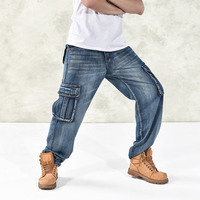 Mens Hip Hop Casual Harem Jeans Pants Men Loose Drop Crotch Hiphop Packwork Pockets Trousers Plus