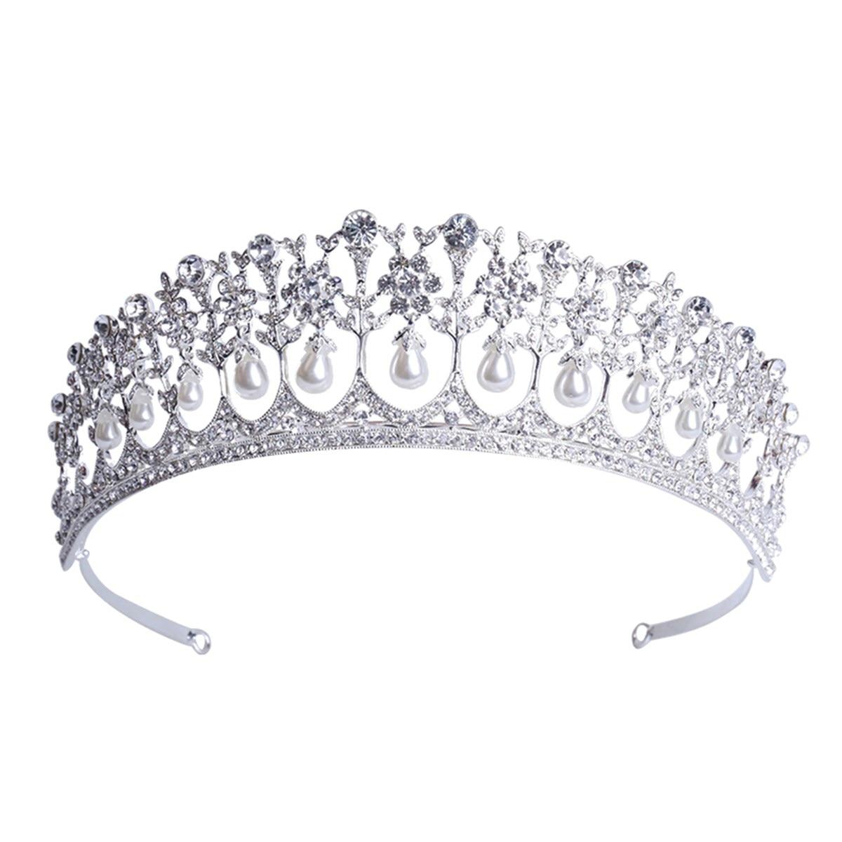 Women Vintage Wedding Bridal Tiara Crystal Pearl Crown Princess Hair Accessories Jewelry Headpiece Rhinestone Bride Headband