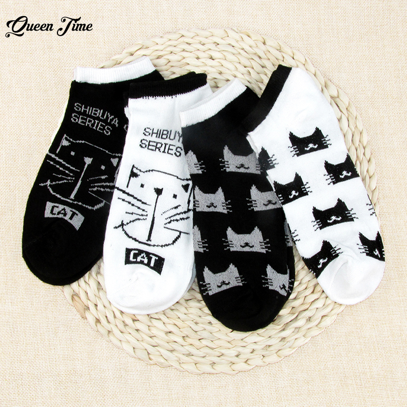 CAT Warm comfortable cotton bamboo fiber girl women's   socks   low female invisible color girl boy hosier 1pair=2pcs Ankle   Sock