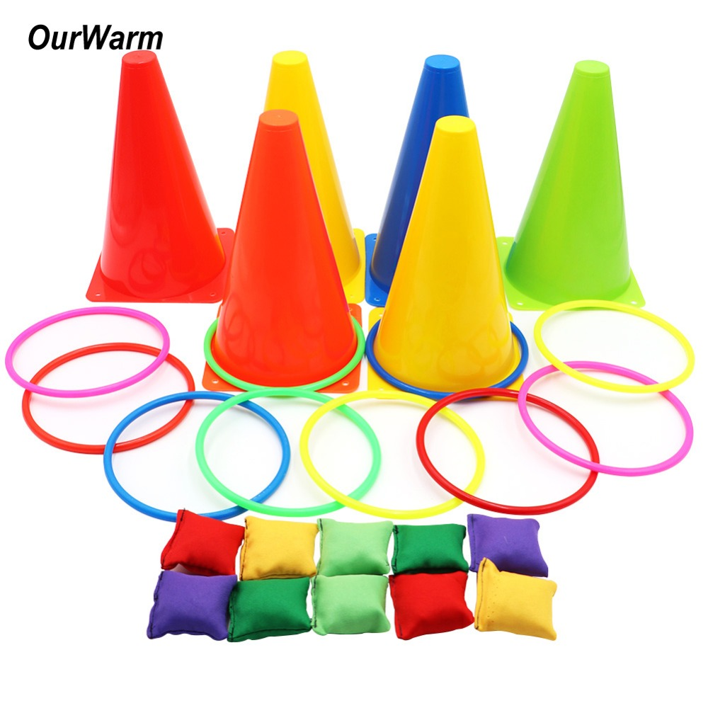 OurWarm 1set Birthday Party Games Outdoor Ring Toss Games Gift for Kids Party Supplies Carnival Games Children's Day