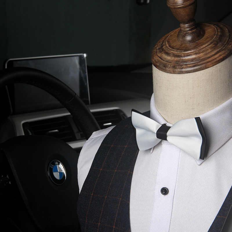 Классический сплошной цвет имитация шелка модный бант регулируемый для маленьких мужчин бабочка под смокинг для свадьбы Вечерние галстук