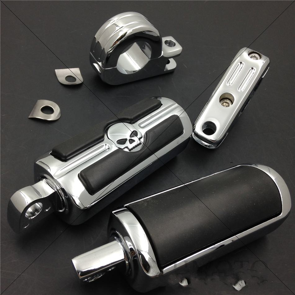 Aftermarket free shipping motorcycle parts 1 1/2 Highway Skull Foot Pegs P-Clamps For Harley Sportster 883 1340 XL1200 CHROMED aftermarket free shipping motorcycle parts brake clutch lever fit for harley davidson davidson xl sportster 883 1200 softail cd