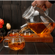 1000ml/1800ml Glass Kettle Water Jug Heat Resistant Flower Teapots with Bamboo Lid Stainless Steel Cover Clear Juice Container