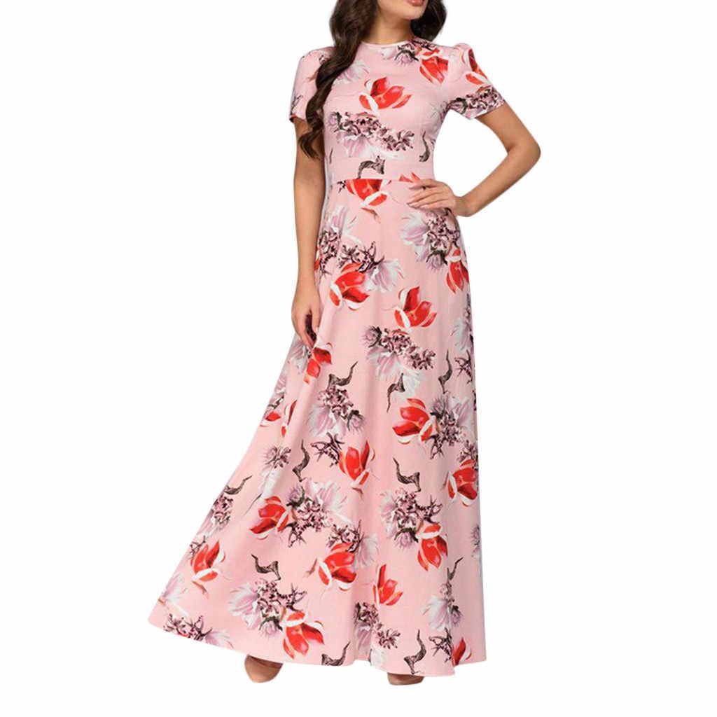 Модное летнее хлопковое винтажное платье миди с цветочным принтом, новое платье больших размеров, Boho, 2019 элегантные женские вечерние платья с коротким рукавом, Vestidos