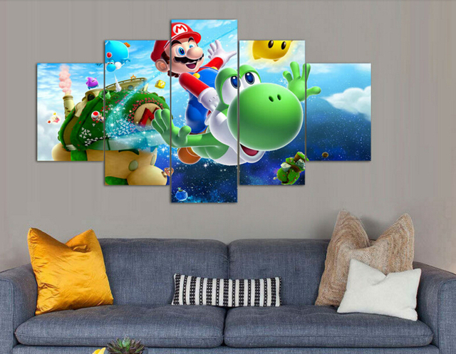 5 Panel Wall Art cartoon Group Oil Painting super mario galaxy On ...