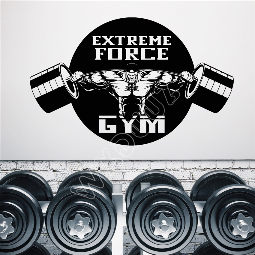 Us 5 99 Wxduuz Vinyl Wall Decal Gym Logo Muscles Extreme Force Motivation Stickers Art Decor Wall Sticker Home Decor B171 In Wall Stickers From Home
