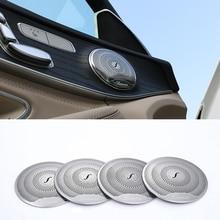 Stainless Steel car audio speaker door loudspeaker trim sticker cover for Mercedes Benz GLC 2016 E class benz W213 C class W205 lapetus car steering wheel cover trim matte carbon fiber style for mercedes benz e class w213 c class glc 2016 2019