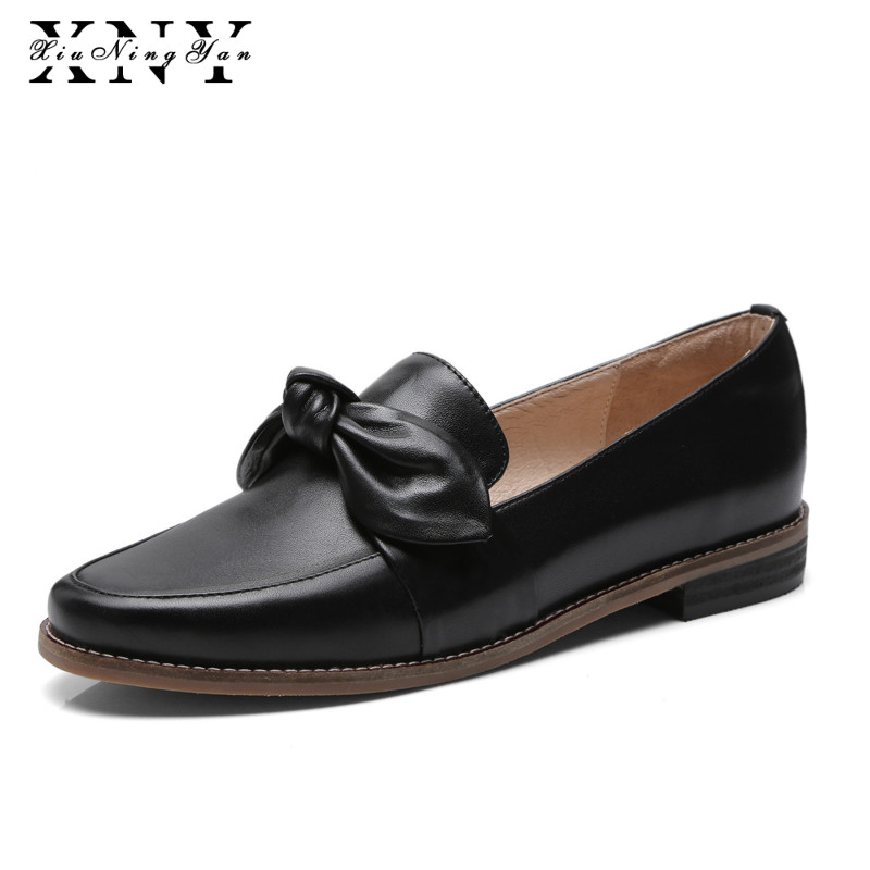 XiuNingYan Fashion Women Genuine Leather Flats Brogue Oxford Woman Casual Shoes Design Comfortable Butterfly-knot Shoes Woman lovexss casual oxford shoes fashion metal decoration shallow shoes black purple genuine leather flats woman casual oxford shoes