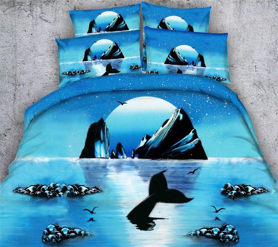 3D peinture Dophin requin bleu océan ensembles de literie filles housse de couette unique reine roi tailles enfants 3/4 pièce 500TC taie d'oreiller