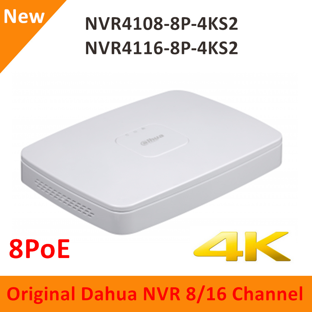 Dahua 4 K Alta Resolução Inglês versão 8CH 16CH NVR4108-8P-4KS2 NVR4116-8P-4KS2 Inteligente 1U 8PoE H.265 até 8MP Freeship