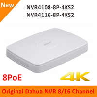 Dahua 4K High Resolution English version 8CH 16CH NVR4108-8P-4KS2 NVR4116-8P-4KS2 Smart 1U 8PoE H.265 Up to 8MP Freeship