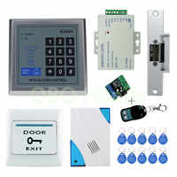 RFID Access Control System Kit Set with Electric Strike Lock+Remote  control+Door bell+Power+Exit+door Lock Keypad Free shipping
