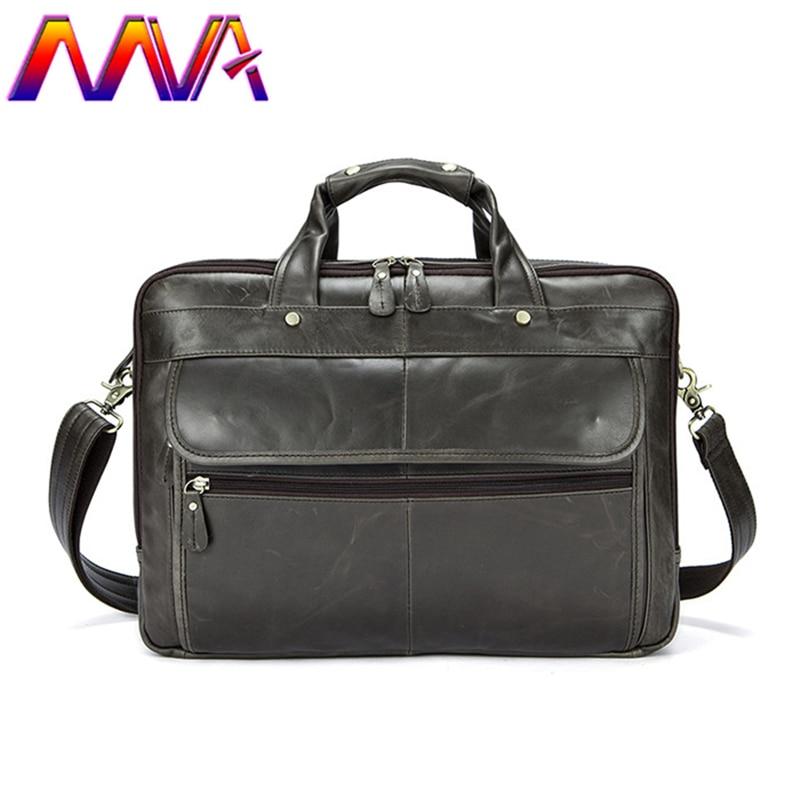 MVA New Arrivals Men`s Briefcase 14 Inch Laptop Computer Crossbody Bag Quality Genuine Leather Men Shoulder Bag Men Handbag