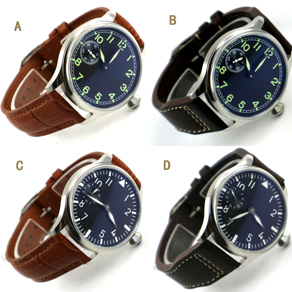 Free Shipping 44mm classic black dial parnis luminous makrs asia 6497 movement Mechanical Watches hand winding mens watch 44mm parnis black dial mechanical hand winding asia 6497 mens watch brown