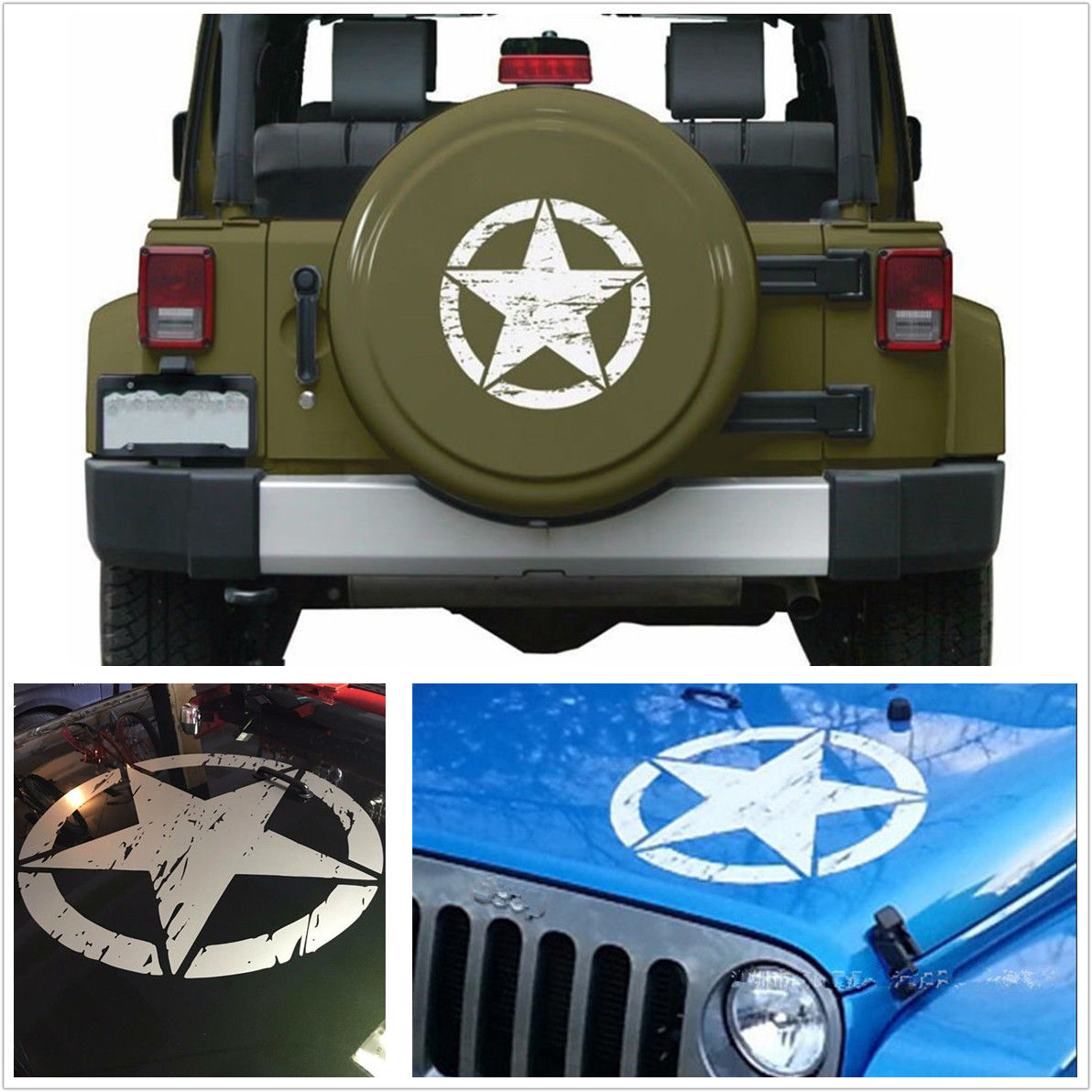 Car styling 2018 new 50x50cm white car distressed army star pattern vinyl decal stickers for jeep car stickers