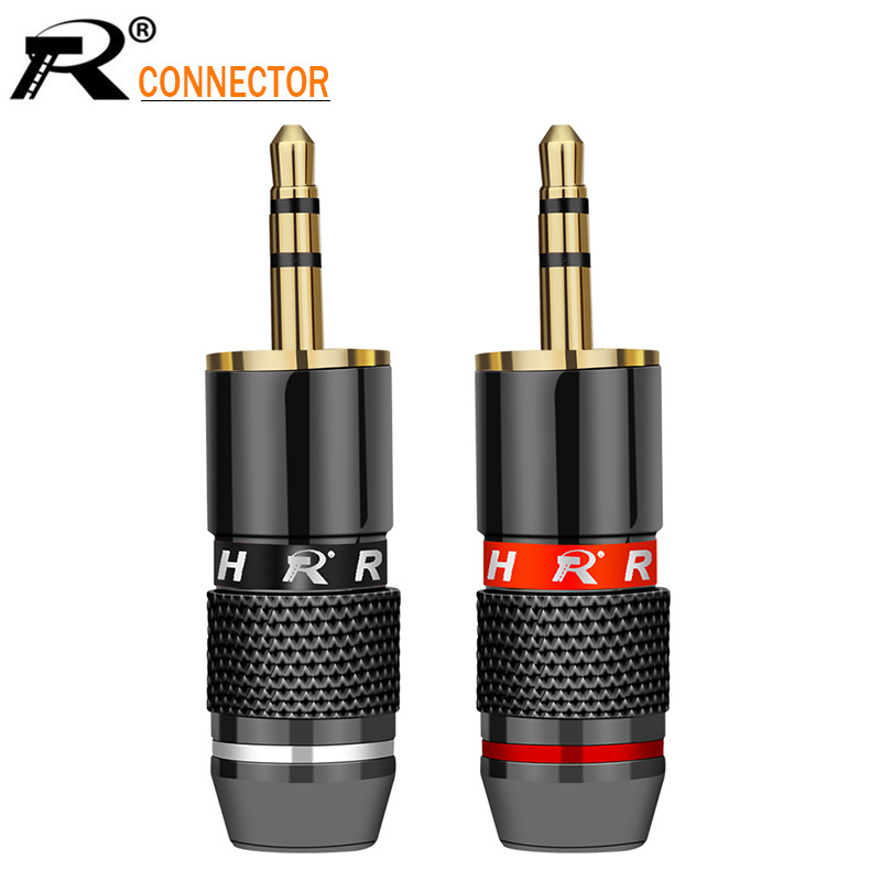 2pcs 3.5mm Jack 3 pole Audio Plug Gold-plated Earphone Adapter For DIY Stereo Headset Earphone or Used for Repair Earphone2pcs 3.5mm Jack 3 pole Audio Plug Gold-plated Earphone Adapter For DIY Stereo Headset Earphone or Used for Repair Earphone